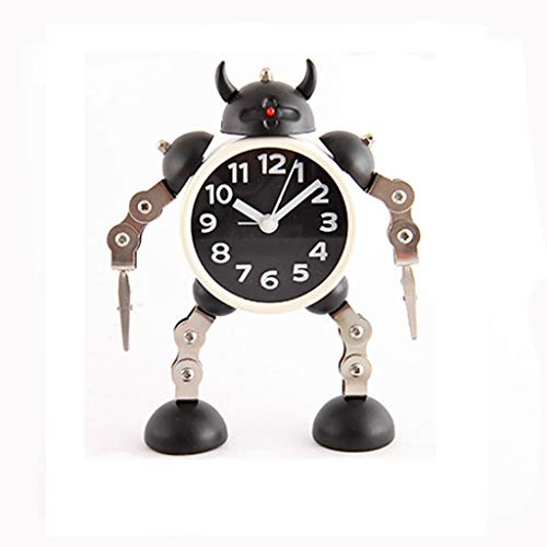 Deformed Robot Alarm Clock Creative Student Small Alarm Clock Metal Plastic Hand and Foot Can Be Rotated (Color : Black)