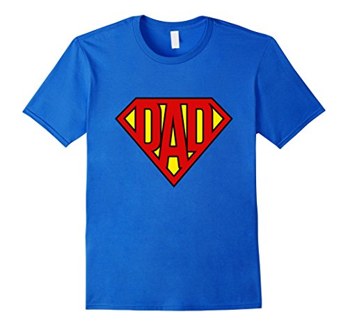 Mens Super Dad Shirt Superhero Dad Father's Day T Shirt Large Royal Blue