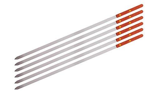 Premium Stainless Steel Wooden Handle BBQ Skewers for Shish Kebab, Turkish Grills & Koubideh, Brazilian-style BBQ, 23