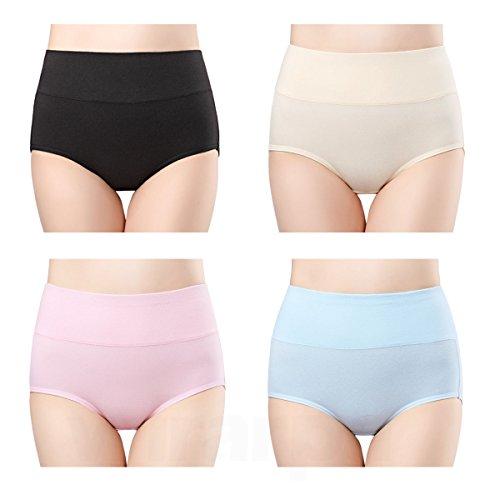 wirarpa Womens Cotton Underwear 4 Pack High Waisted Briefs Postpartum No Muffin Top Ladies Comfort Panties Size 6, Medium