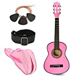 NEW! 30' Left Handed Pink Wood Guitar with Case and Accessories for Kids / Girls / Beginners