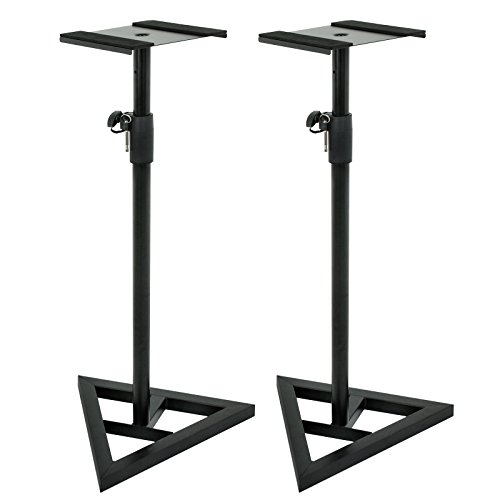 ZENY Pair of Studio Monitor Speaker Stands Height Adjustable Concert Band DJ Studio Floor Stands w/Stable Triangle Base, Black