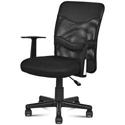 Giantex Office Chair High Back Swivel Computer Desk Task Chair, Ergonomic Mesh Chair with Armrest, Black