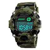 Venhoo Digital Kids Watches Outdoor Sport Waterproof Electronic EL-Light with Alarm Stopwatch Luminous Casual Military Wrist Watch Gift for Kids Boys Girls (9-18 Camouflage)
