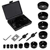 Hole Saw Kit, EONLION 16 Pieces 3/4 inches-5 inches Set in Case with Mandrels, Super Sharp Saw blade, Install Plate and Hex Key for Sawing Holesin Normal Wood, Plywood, Drywall, PVC and Plastic Plate