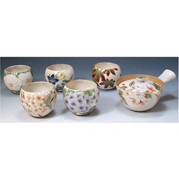 Kiyomizu-kyo yaki ware. Set of Japanese yunomi teacup and kyusu teapot hanagawari with paper box. ceramic. kymz-toua595