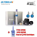 Professional Electric Auto Derma Pen Dr.Pen Ultima A6 Makeup Tattoo Machine as Picture 12Pcs Accessories 12Pins/36Pins Cartridges 0.25mm for Skin Facial