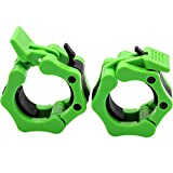Barbell Collars 2 Inch Quick Release Pair Locking 2' Pro Olympic Bar Clip Lock Barbell Clamp 45lbs Weights Plates Clips Workout for Weightlifting Fitness Training (Neon-Green)