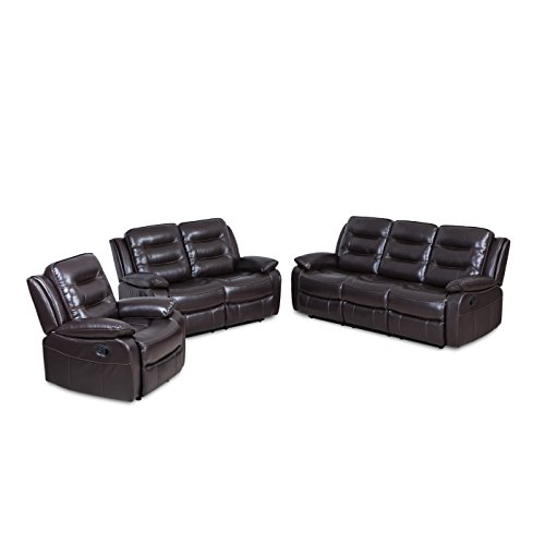 JUNTOSO 3 Pieces Manual Recliner Sofa Sets Air Leather for Living Room Lounge Loveseat Reclining Couch- Brown