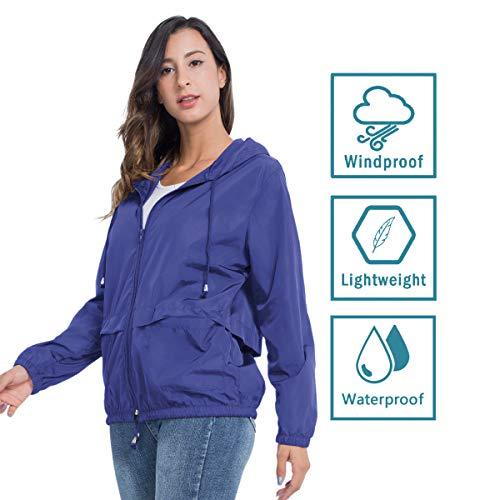 JTANIB Women's Lightweight Hooded Waterproof Raincoat Windbreaker Packable Active Outdoor Rain Jacket 15 Fashion Online Shop gifts for her gifts for him womens full figure