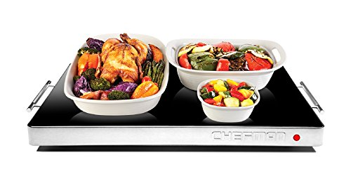 Chefman Electric Warming Tray with Adjustable Temperature Control, Perfect For Buffets, Restaurants, Parties, Events, Home Dinners, Glass Top Large 21' x 16' Surface Keeps Food Hot - Black