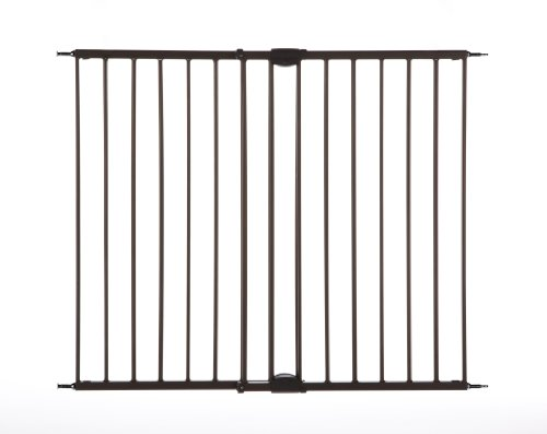 """Easy Swing & Lock Gate"" by North States: Ideal for standard or wider stairways, swings to self-lock. Hardware mount. Fits openings 28.68"" to 47.85"" wide (31"" tall, Bronze)"