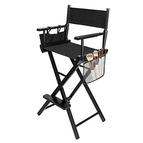 Mefeir Upgraded Folding Tall Director Artist Makeup Chair with Replacement Cover Canvas, Storage Side Bags, Portable Footrest, Support 250 lbs,Solid Hardwood & Polyester Black