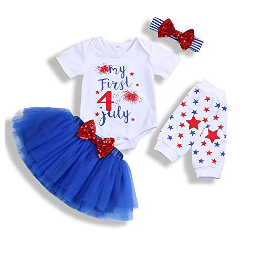 Baby Girl My First 4th of July Outfits Short Sleeve Romper+Tutu Skirt+Headbands 4PCS Clothes Set (Blue, 12-18 Months)
