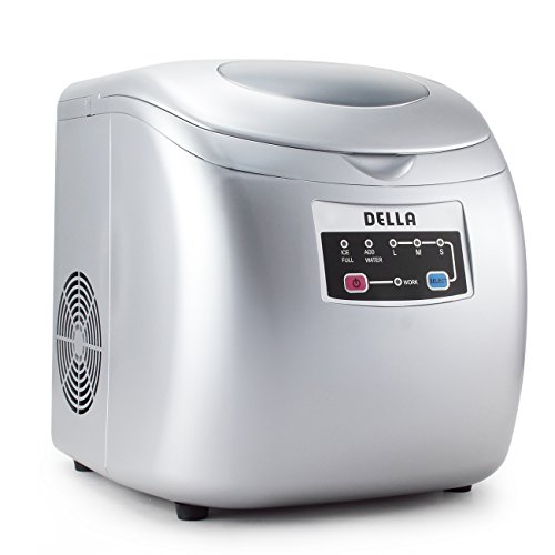 DELLA | High Capacity Portable Ice Maker | Touch Button Display | 26 Pounds a Day | 3 Cube Sizes | Silver | Home | Dorm