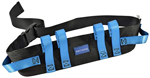 Secure Transfer and Walking Gait Belt with 6 Caregiver Hand Grips - Patient Ambulation Medical Assist Aid (52'Lx4'W, Blue Handle (Quick Release Buckle))