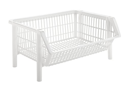 IRIS USA, Inc. Jumbo Stacking Basket, 4 Pack, White