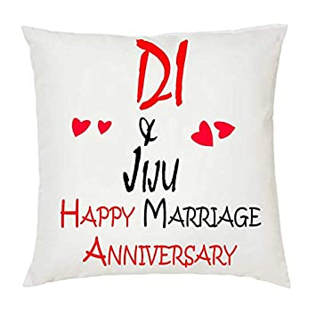 Buy Juvixz Di Jiju Happy Marriage Anniversary Printed White Cushion 12 Inch X 12 Inch With Filler Online At Low Prices In India Amazon In