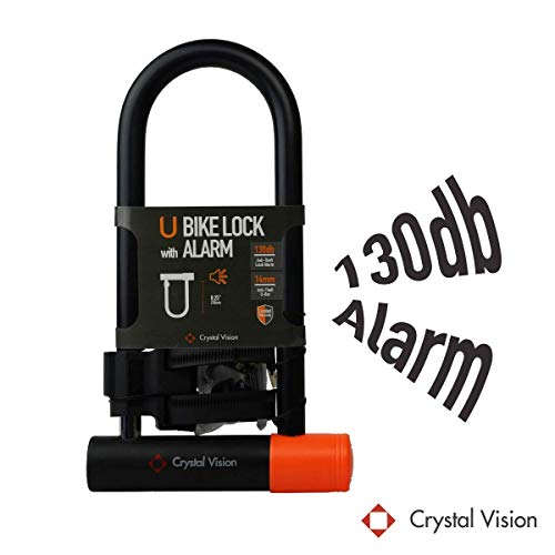 Crystal Vision SHBLA Weather Proof Anti Theft Loud 130db Alarm 14mm Heavy Duty Bike U Lock with Mount Holder. Auto Arm & Disarm, Alarm Lock, Siren Lock, Bike Alarm Lock, Road Bike,Mountain Bike