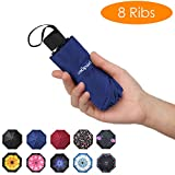 Prodigen Travel Mini Umbrella Windproof UV Folding Compact Umbrella Portable Lightweight Sun & Rain Umbrellas for Women and Men (Blue)