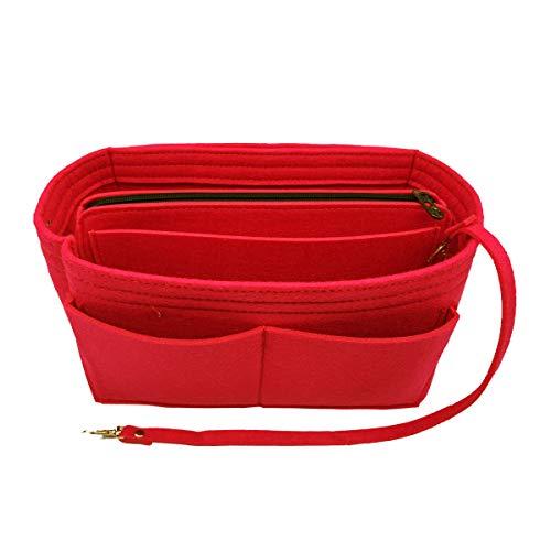 LEXSION Felt Purse Insert Handbag Organizer Bag in Bag Organizer with HandlesHolder Red Medium 8021