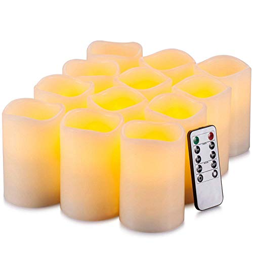 HANZIM Flameless Candles Battery Operated LED Pillar Real Wax Flickering Electric Unscented Candles with Remote Control Cycling 24 Hours Timer, 3'x4' Set of 12