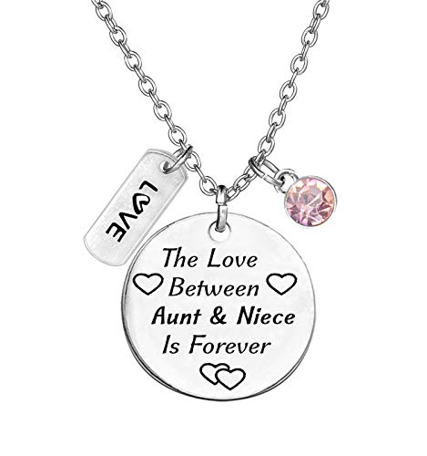 TISDA Birthstone Crystals Necklace,The Love between Aunt and Niece is Forever Necklace Family Jewelry Christmas Gift (October)