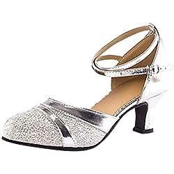 Duseedik Women's Dance Shoes Ballroom Tango Latin Salsa Dancing Low Heel Closed-Toe Ankle Strap Sequins Social Sandals Silver