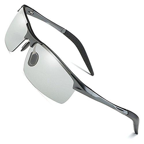 MOTELAN Men's Photochromic Polarized UV400 Sunglasses for Outdoor Fishing Golf Beach Baseball Sports Grey