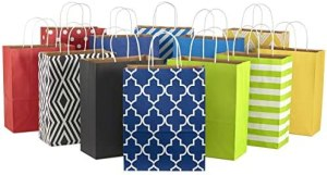 Hallmark 12″ Large Paper Gift Bag Assortment, Pack of 12 in Blues, Red, Yellow, Black – Solids and Geometric Patterns for Birthdays, Father's Day, Holidays and More