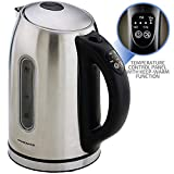 Ovente 1.7 Liter BPA-Free Temperature Control Stainless Steel Cordless Electric Kettle with Keep Warm Function, Auto Shut-Off and Boil-Dry Protection, Nickel Brushed, WITH BEEP (KS88S)