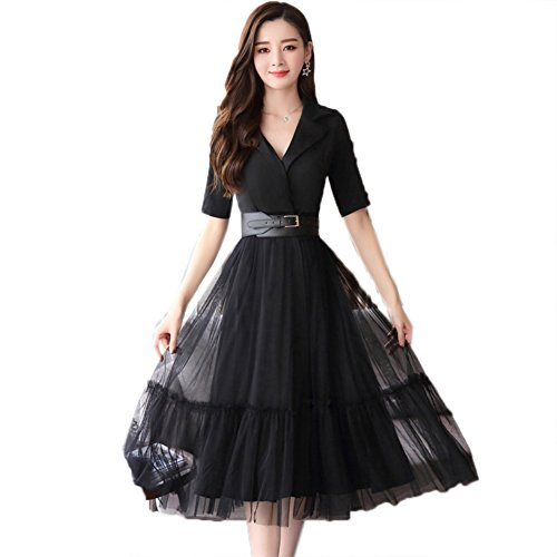 51GjjaFRQGL Fabric: Polyester Main features: Fashion Lacing At High Waist, A-Line Dress, Suit For Evening Party, Below Knee-Length, Lapel Neck Size: Please check the SIZE CHART before you place the order