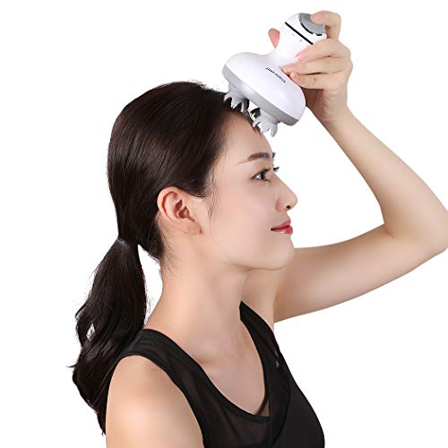 Handheld Scalp Massager,Rechargeable Electric Scalp Body Massager,Portable Handheld Massager 4 Heads with 84 Nodes for Stimulating Hair Growth.Relief Headache Pain.