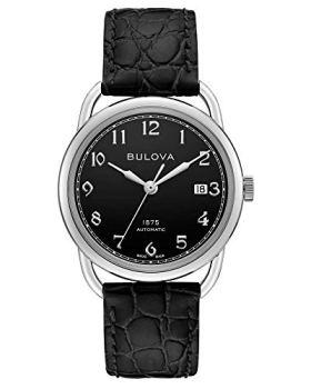 Bulova Mens Commodore Black Leather Automatic Watch 96B325 Joseph Bulova Limited Edition Collection