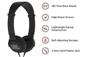 JBL C300SI On-Ear Dynamic Wired Headphones, Without Mic (Black)