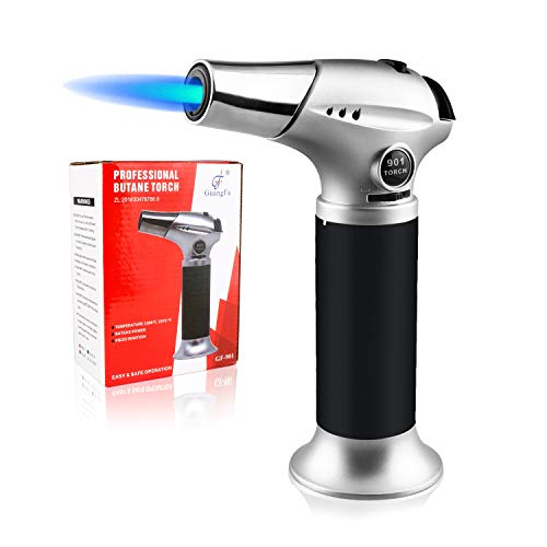 Blow Torch Lighter, Culinary Torch, Refillable Kitchen Butane Torch with Safety Lock and Adjustable Flame Perfect for DIY, Creme Brulee, BBQ and Baking, Butane Gas Not Included, Black
