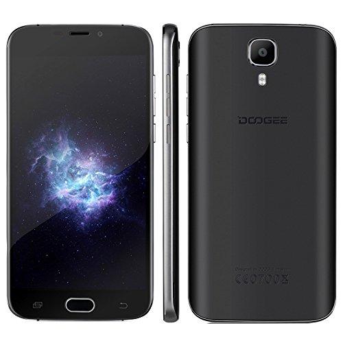 DOOGEE X9 Pro, Android 6.0 4G 2GB+16GB Unlocked Smartphones, DTouch Fingerprint 5.5 inch 2.5D MTK6737 Quad Core Dual SIM (Black)