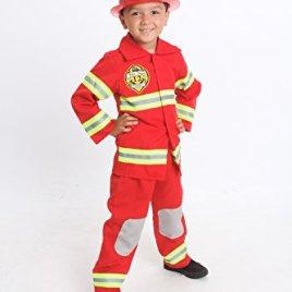 MONIKA FASHION WORLD Firefighter Costume Kids Light up with Hat Fire Man Chief