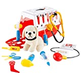 Hey!Play! (HEYP0) 80-YF-1510Z332 Kids Veterinary Set-11Piece Complete Toy Set-Pretend Play Set with Animal Medical Supplies, Plush Dog, & Carrier for Boys & Girls