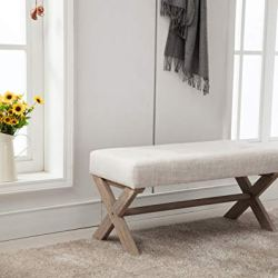 chairus Fabric Upholstered Entryway Bench Seat, 36 inch Bedroom Bench Seat with X-Shaped Wood Legs for Living Room, Foyer or Hallway by – Light Beige