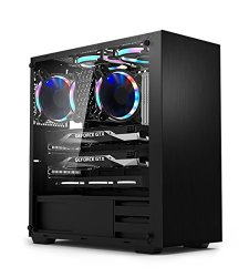 DAVEN Mid Tower GT101 Tempered Glass ARGB Gaming Computer Case USB 3.0X1 2.0X2