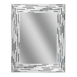 Headwest Reeded Charcoal Tiles Wall Mirror, 30 inches by 24 inches, 30″ x 24″