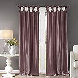 Madison Park Emilia Room-Darkening Curtain DIY Twist Tab Window Panel Black-Out Drapes for Bedroom and Dorm, 50x84, Purple (Renewed)