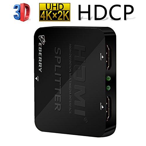 eBerry HDMI Splitter, HDMI 2 Ports 1x2 Powered Splitter V1.4 Certified for Ultra HD 2160P 4Kx2K Full HD 1080P 3D HDMI Adapter 1 in 2 out HDMI Converter Support HDCP for Blu-ray PS4 Xbox DVD HDTV