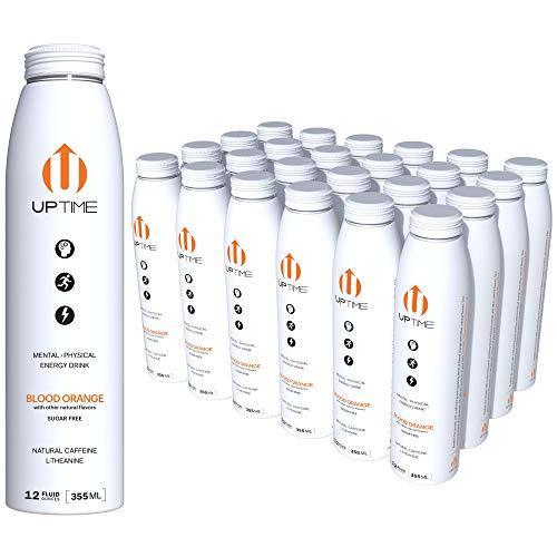 UPTIME - Premium Energy Drink, Blood Orange - Sugar Free, 12oz Bottles, (Case of 24), Better for You, Natural Caffeine, Sparkling