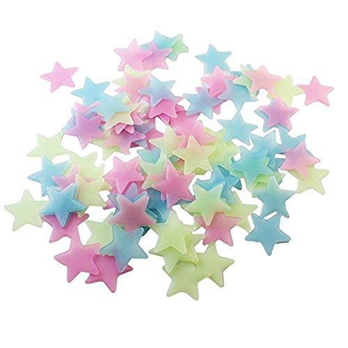 Binglinghua - 500 estrellas de plástico 3D con adhesivo, estrellas que brillan en la oscuridad para...