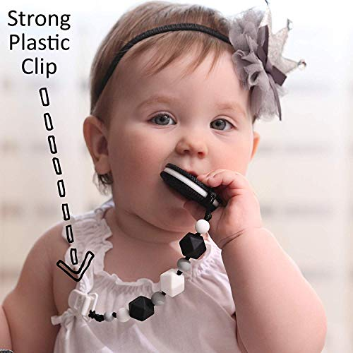 Teething Toys for Babies - BPA Free Silicone - Cute and Highly Effective Cookie Teether with Pacifier Clip - Teethers Toy Best for 0-6 6-12 Months Stylish Baby Boy or Girl Valentine Gifts 5