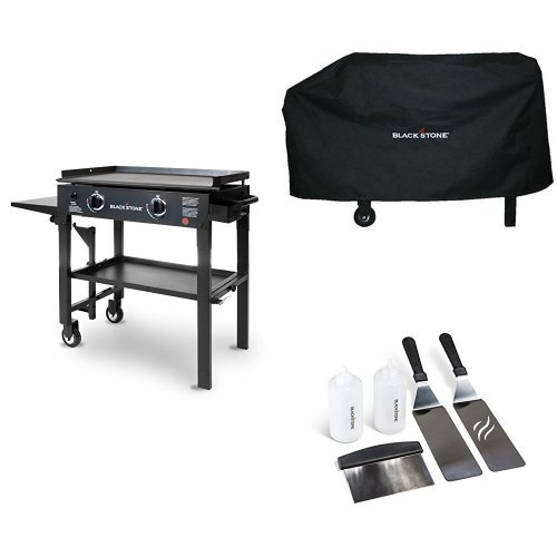 Blackstone 28 inch Outdoor Flat Top Gas Grill Griddle Station - 2-burner - Propane Fueled - Restaurant Grade - Professional Quality with Cover and Griddle Tool Kit