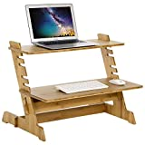 SONGMICS Bamboo Standing Computer Desk Monitor Stand Riser Stand Steady Up Adjustable Height Desktop Laptop Workstation Converter Natural ULLD97N