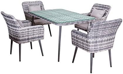 Jet Line Garden Dining Set Lima In Gray Polyrattan Modern Garden Furniture 4 Chairs Table 1 5 M Aluminium Amazon Co Uk Garden Outdoors